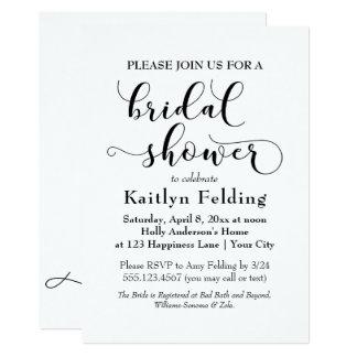 Noir élégant sur la douche nuptiale b de carton d'invitation  12,7 cm x 17,78 cm