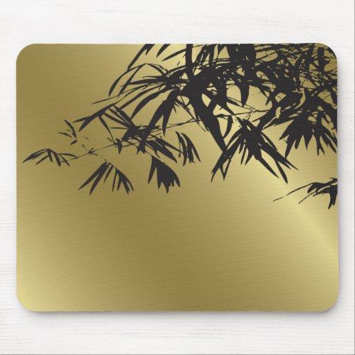 Noir en bambou de feuille + Cadeau fait sur comman Tapis De Souris