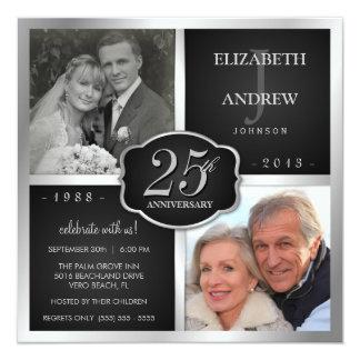 Noir et 25ème anniversaire de mariage d'argent carton d'invitation  13,33 cm