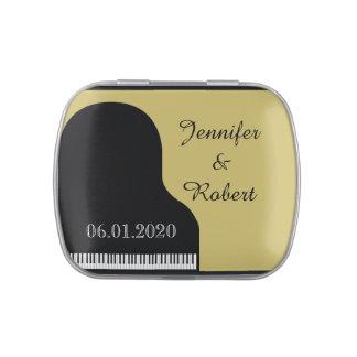 Noir et bidons de mariage de piano d'or boites jelly belly