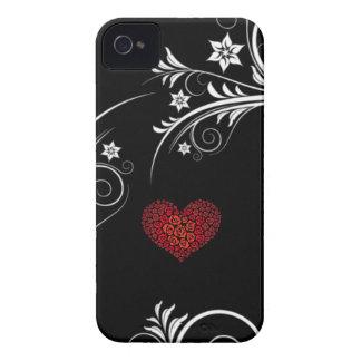 Noir et blanc avec le coeur rose élégant d amour étuis iPhone 4