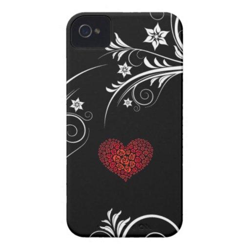 Noir et blanc avec le coeur rose élégant | d'amour étuis iPhone 4