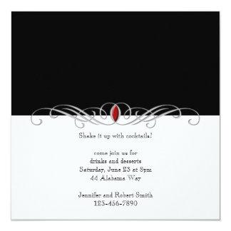 Noir et blanc avec l'invitation rouge de partie