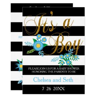 Noir et blanc barre le baby shower floral bleu de carton d'invitation  12,7 cm x 17,78 cm