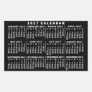 Noir et blanc classique de calendrier mensuel de sticker rectangulaire