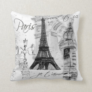 Noir et blanc de collage de Tour Eiffel de Paris Coussin Décoratif