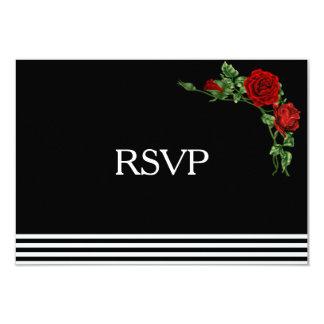 Noir et blanc élégant avec le rose rouge RSVP Carton D'invitation 8,89 Cm X 12,70 Cm