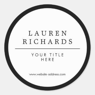 Noir et blanc Luxe professionnel Sticker Rond
