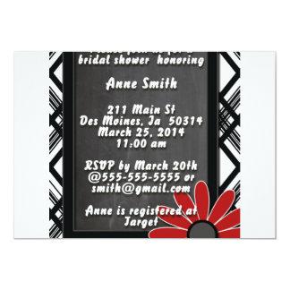 Noir et blanc rouge d'invitation nuptiale avec la carton d'invitation  12,7 cm x 17,78 cm
