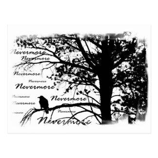 Noir et blanc silhouettez plus jamais Raven Carte Postale