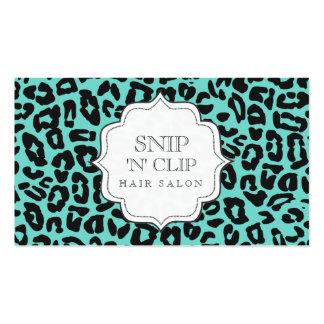 Noir et cartes de coiffeur d'empreinte de léopard  carte de visite standard