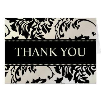 Noir et cartes de note de Merci de damassé de