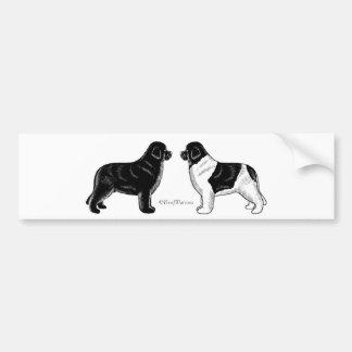 Noir et chiens de Landseer Terre-Neuve Autocollant De Voiture