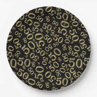 Noir et cinquantième thème de collage de fête assiettes en papier