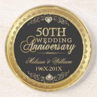 Noir et conception d'anniversaire de mariage d'or dessous de verre