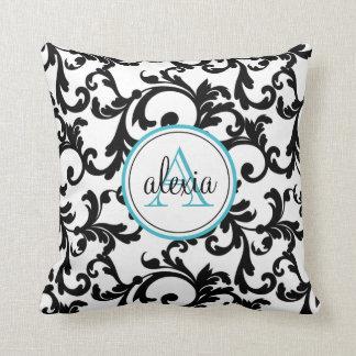 Noir et copie décorée d un monogramme de damassé d oreillers