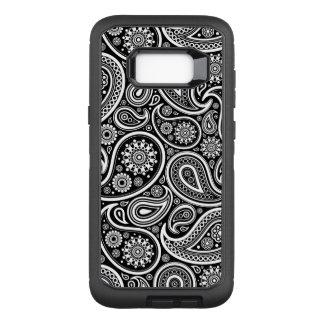 Noir et et motif vintage blanc de Paisley Coque Samsung Galaxy S8+ Par OtterBox Defender