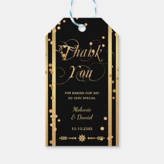 Noir et étiquette de cadeau de Merci de mariage de