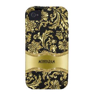 Noir et floral métallique d or Damassé-Customisé Coque iPhone 4/4S
