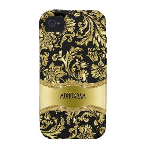 Noir et floral métallique d'or Damassé-Customisé Coque iPhone 4/4S