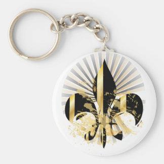 Noir et Gold Fleur de Lis Porte-clés
