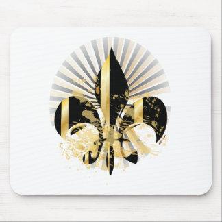 Noir et Gold Fleur de Lis Tapis De Souris