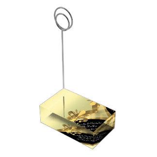 Noir et gold fleur de lys porte-cartes de  table