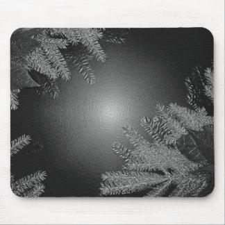 Noir et gris de poinsettia de Noël Tapis De Souris