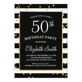 Noir et invitation d'anniversaire de confettis