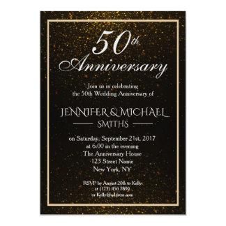 Noir et invitation élégants d'anniversaire d'or