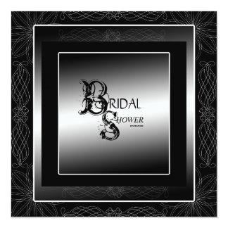 Noir et invitation nuptiale de douche d'argent carton d'invitation  13,33 cm
