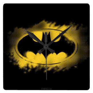 Noir et jaune de logo de Batman Horloge Carrée