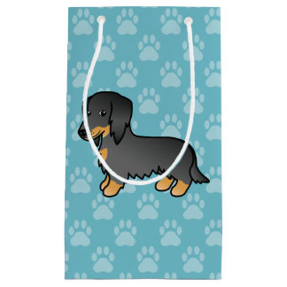 Noir et long chien bronzage de bande dessinée de petit sac cadeau