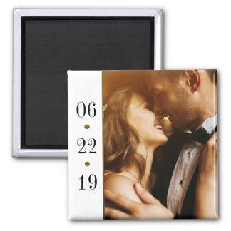Noir et mariage fait sur commande de photo de la magnet carré