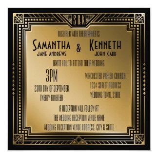 Noir et mariage géométrique de Gatsby d'or de Faux Carton D'invitation 13,33 Cm