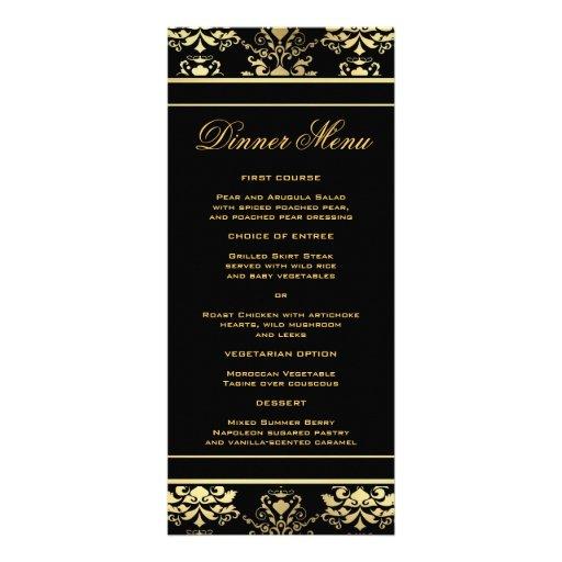 Noir et menu mince de dîner de damassé d'or double carte