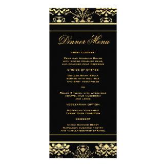 Noir et menu mince de dîner de damassé d'or double cartes customisées
