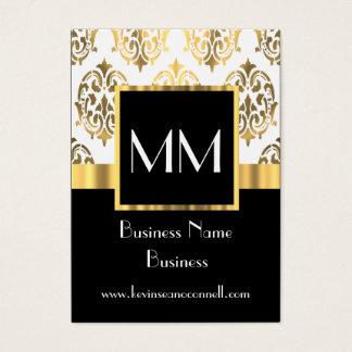 Noir et monogramme de damassé d'or cartes de visite