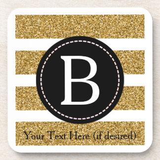 Noir et monogramme de scintillement d'or dessous-de-verre