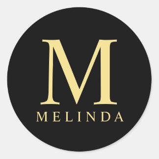 Noir et monogramme élégant d'or sticker rond