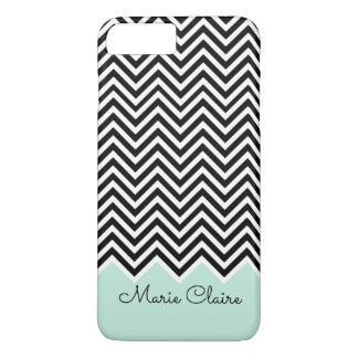 Noir et monogramme moderne bleu-clair de coutume coque iPhone 7 plus