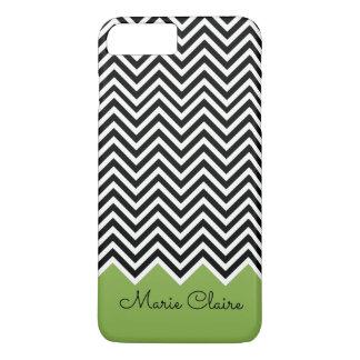 Noir et monogramme moderne de coutume de Chevron Coque iPhone 7 Plus