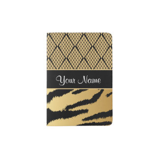 Noir et motif animal de tigre d'or protège-passeports