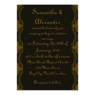 Noir et motif complexes de Brown - mariage Carton D'invitation 12,7 Cm X 17,78 Cm