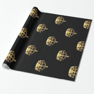 Noir et motif de couronne d'or papier cadeau
