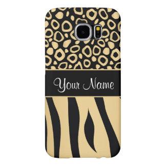 Noir et motif de léopard et de zèbre d'or