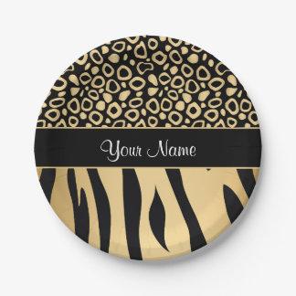 Noir et motif de léopard et de zèbre d'or assiettes en papier