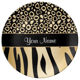 Noir et motif de léopard et de zèbre d'or assiettes en porcelaine