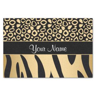 Noir et motif de léopard et de zèbre d'or papier mousseline