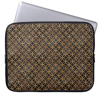 Noir et motif sans couture d'or protection pour ordinateur portable